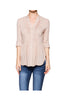 3/4 Sleeve Pleated Button Down Hi-Low Blouse | 30% Off First Order | Taupe