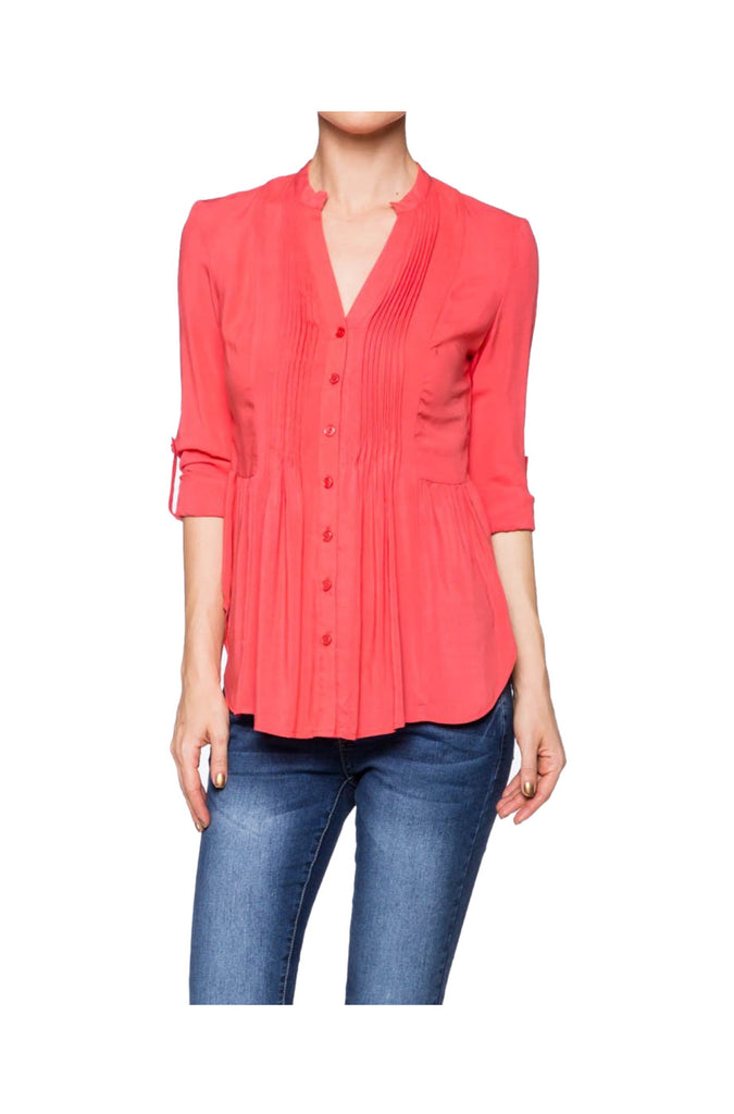 3/4 Sleeve Pleated Button Down Hi-Low Blouse | 30% Off First Order | Coral