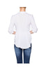 3/4 Sleeve Pleated Button Down Hi-Low Blouse | 30% Off First Order | White