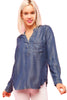 Long Sleeve Button Down Chambray Denim Shirt - BodiLove | 30% Off First Order - 1 | Med. Denim-Tencel
