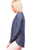 Long Sleeve Button Down Chambray Denim Shirt - BodiLove | 30% Off First Order - 3 | Med. Denim-Tencel