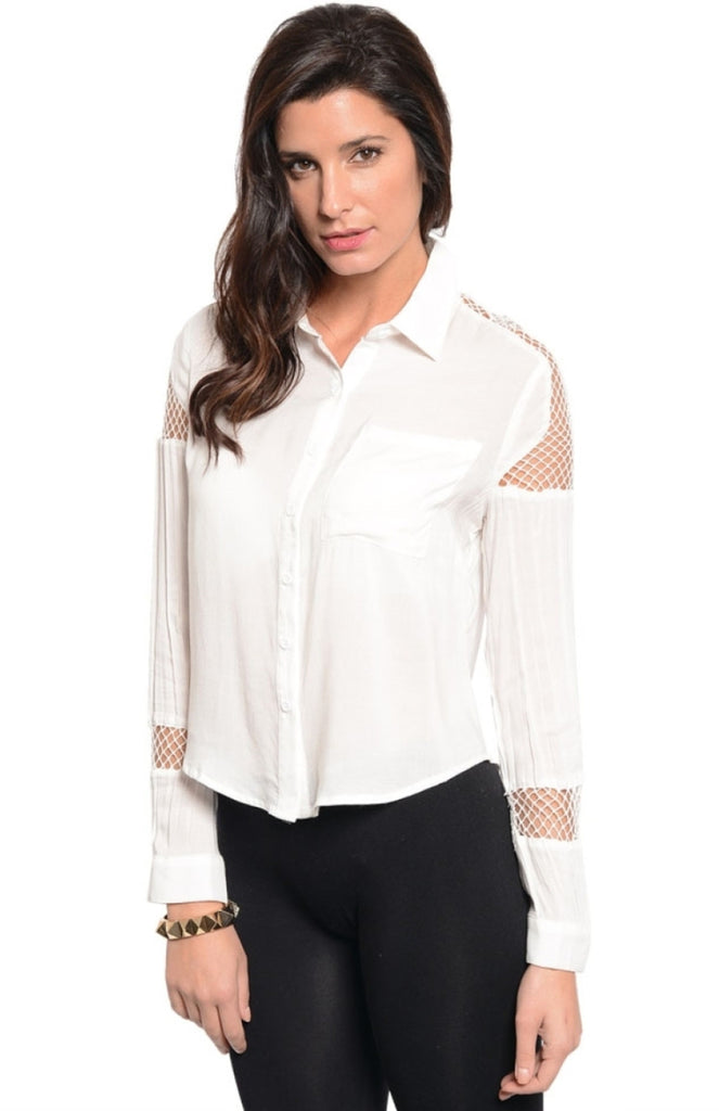 Mesh Insert Button Down Shirt - BodiLove | 30% Off First Order  - 7