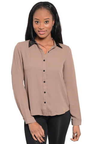 Vegan Leather Detail Button Top