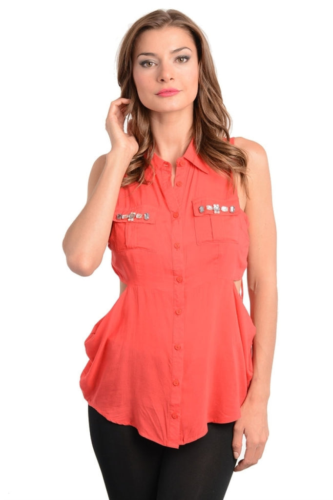 Sleevless Embellished Pocket Button Top - BodiLove | 30% Off First Order  - 5