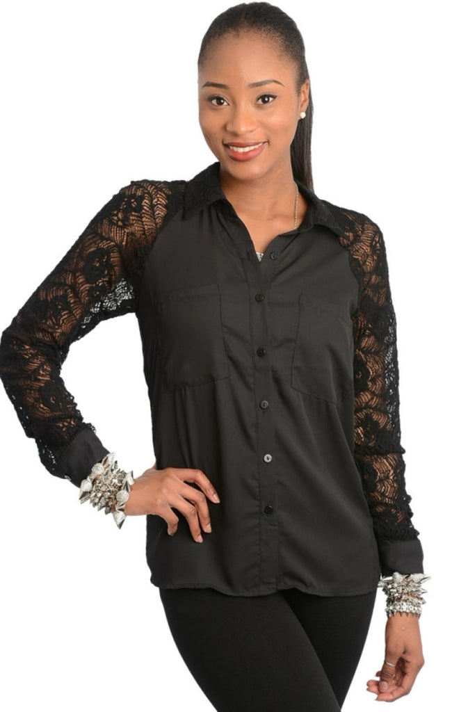 Lace Sleeve Button Down Shirt - BodiLove | 30% Off First Order  - 1