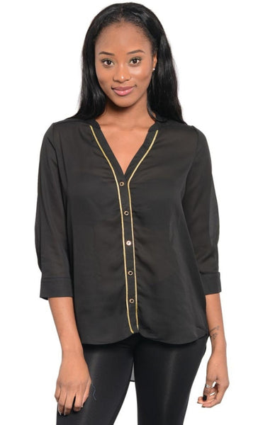 Contrast Trim Button Down Shirt - BodiLove | 30% Off First Order  - 1