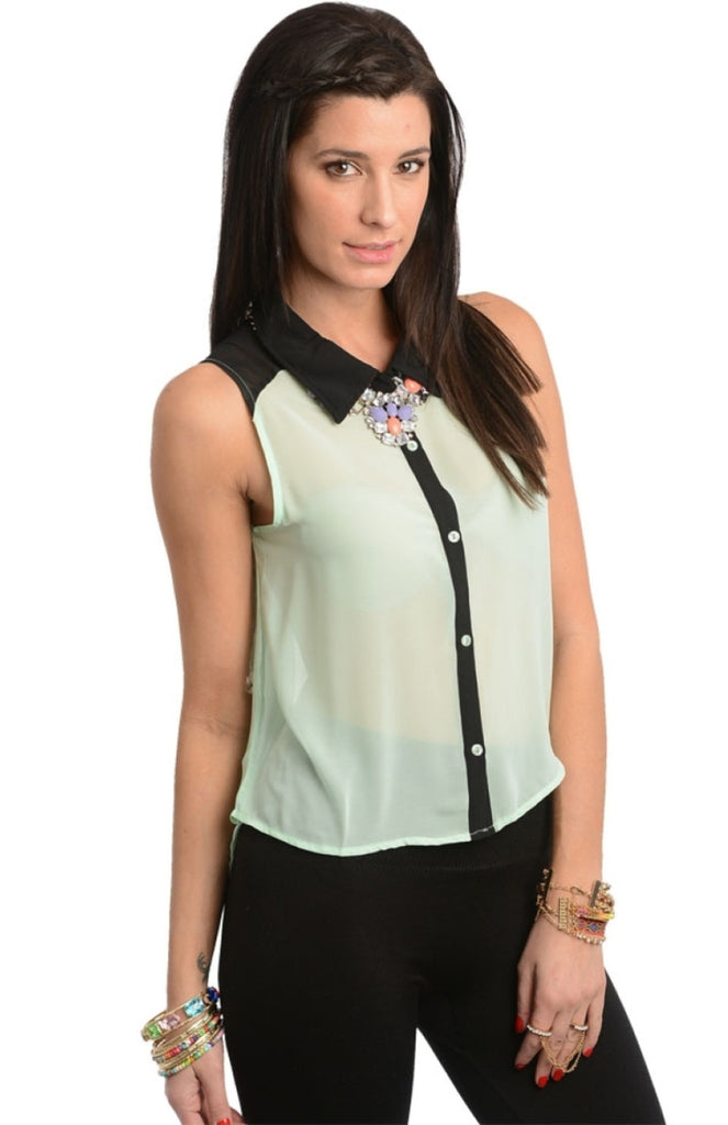 Sleeveless Contrast Trim Button Top - BodiLove | 30% Off First Order  - 3