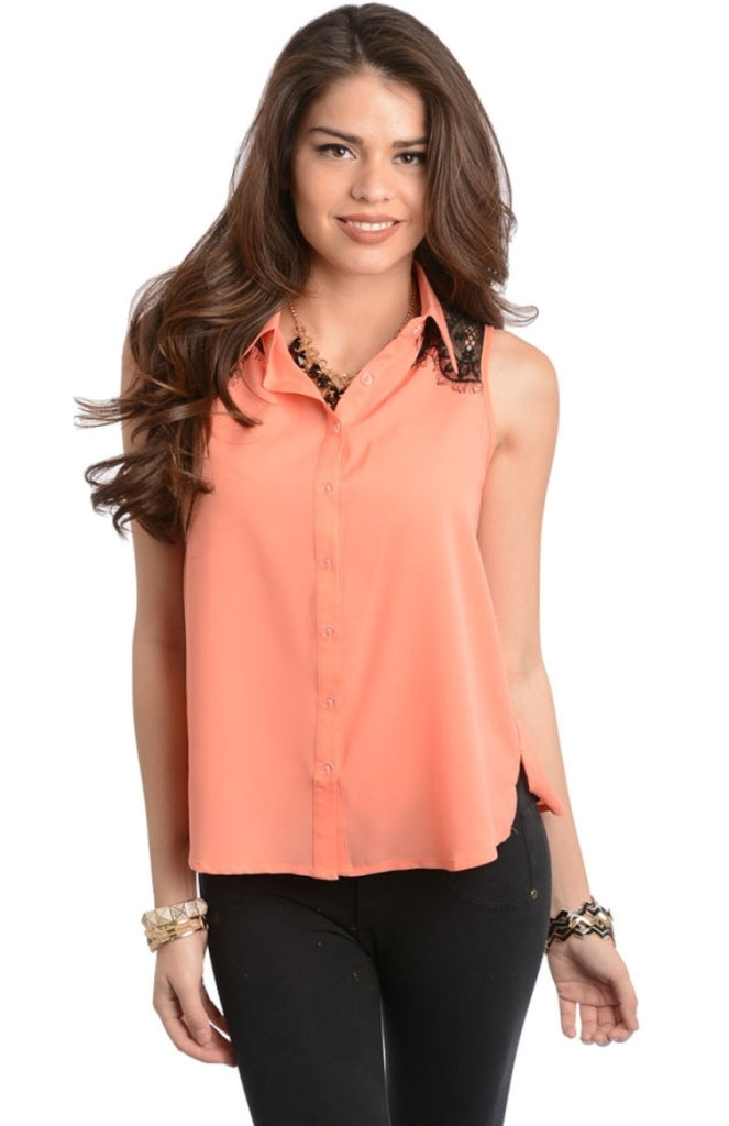 Sleeveless Lace Inset Button Top - BodiLove | 30% Off First Order  - 3