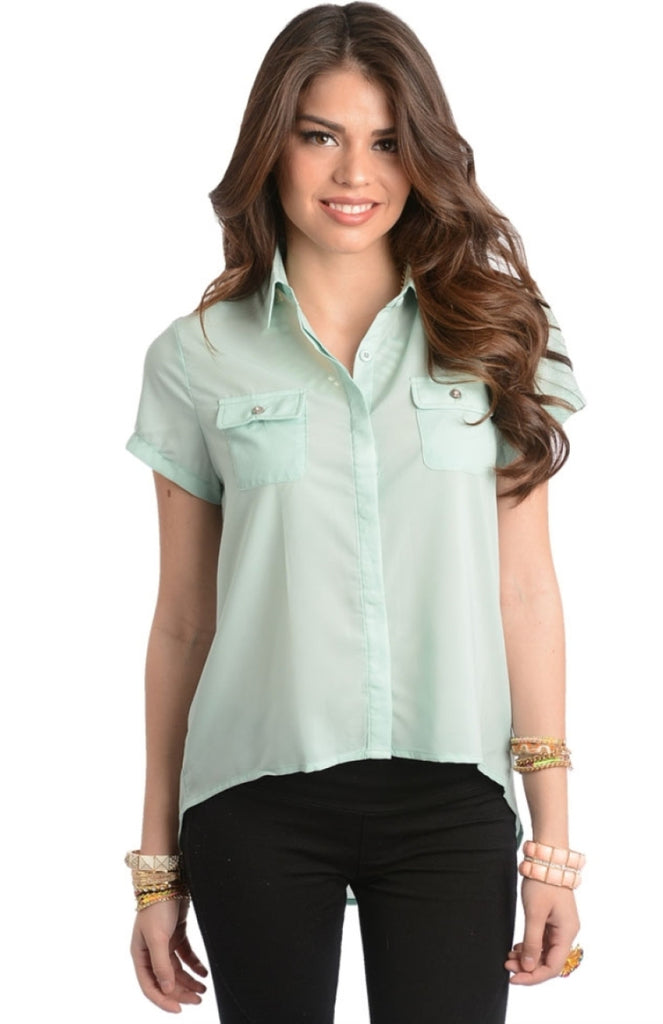 Pocket Front Button Down Top - BodiLove | 30% Off First Order  - 3