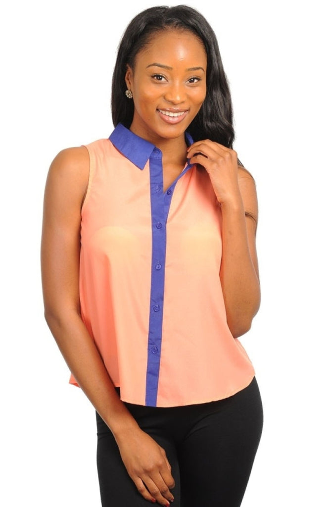Color Block Button Down Top - BodiLove | 30% Off First Order  - 3
