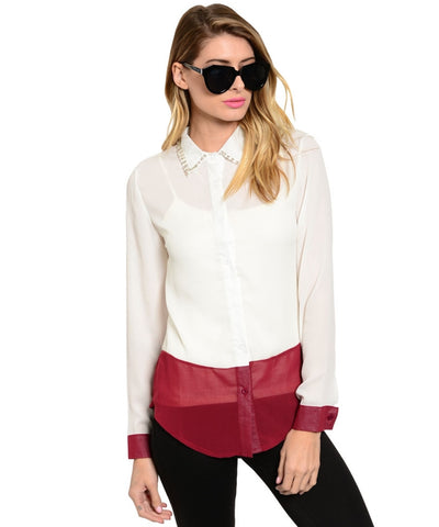 Two Tone Chiffon Blouse W/ Embellished Collar