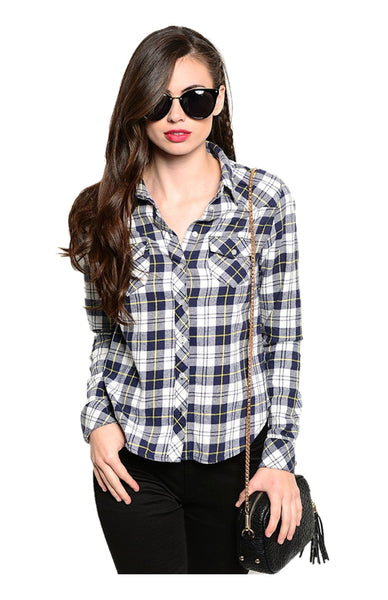 Fitted Long Sleeve Button Down Plaid Shirt - BodiLove | 30% Off First Order  - 1