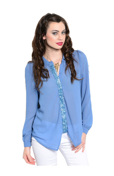 Long Sleeve Chiffon Blouse W/ Sequin Placket - BodiLove | 30% Off First Order  - 1