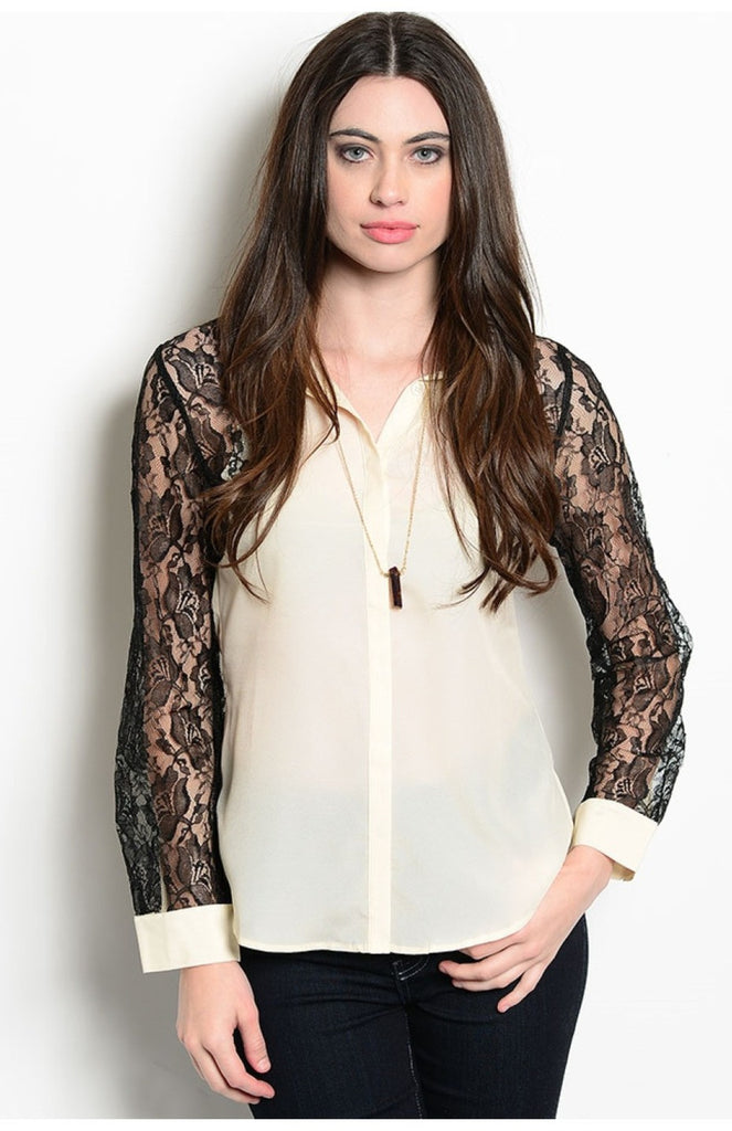 Long Sleeve Lace Accent Button Down Blouse - BodiLove | 30% Off First Order  - 5