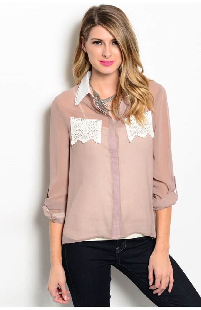 3/4 Sleeve Blouse W/ Crochet Lace Pockets - BodiLove | 30% Off First Order  - 7