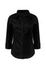 3/4 Sleeve Cotton Button Down Blouse | 30% Off First Order | Black
