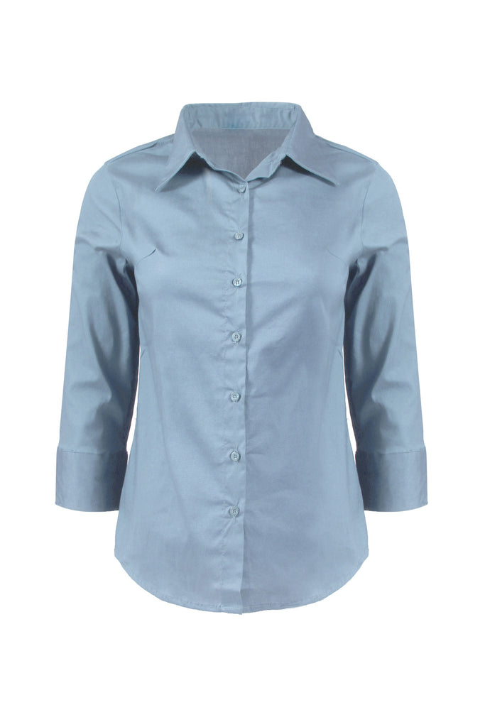 3/4 Sleeve Cotton Button Down Blouse | 30% Off First Order | Light Blue