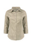 3/4 Sleeve Cotton Button Down Blouse | 30% Off First Order | Taupe