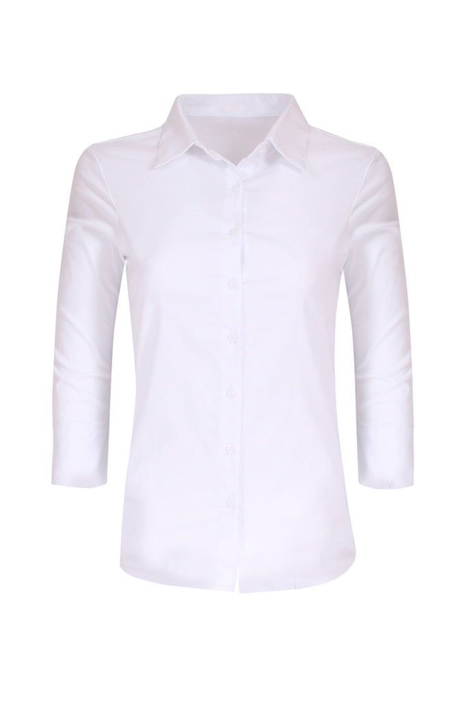 3/4 Sleeve Cotton Button Down Blouse | 30% Off First Order | White