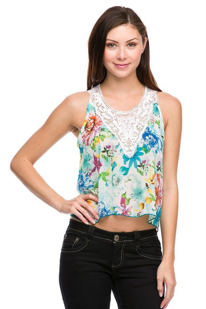 Floral Crop Top with Crochet Detailing - BodiLove | 30% Off First Order  - 1