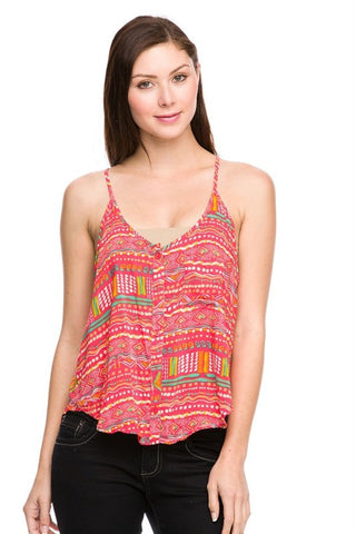 Tribal Print Button Down Tank