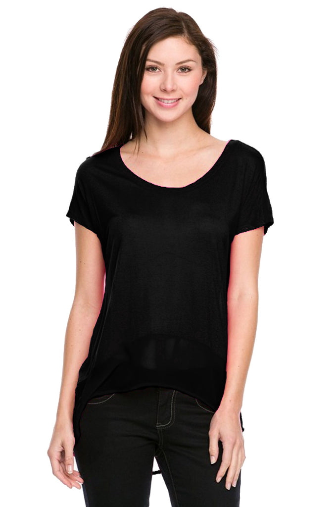 Short Sleeve Top with Chiffon Trim - BodiLove | 30% Off First Order  - 1