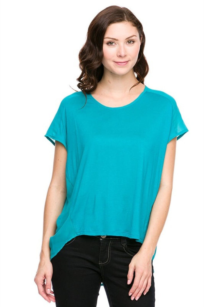 Short Sleeve Chiffon Back Hi-Low Top - BodiLove | 30% Off First Order  - 1