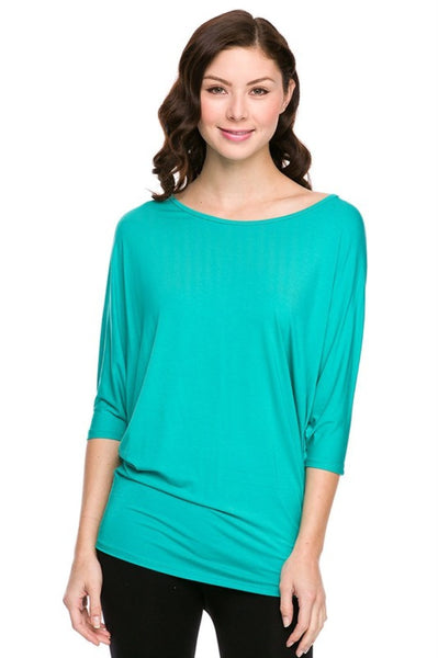 3/4 Batwing Dolman Sleeve Tunic Tees - BodiLove | 30% Off First Order  - 1