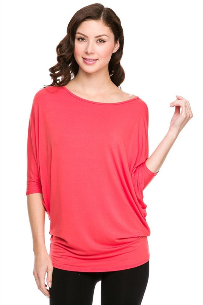 3/4 Batwing Dolman Sleeve Tunic Tees - BodiLove | 30% Off First Order  - 4