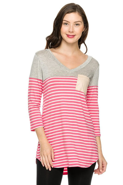 3/4 Sleeve Hi-Low Knit Top W/ Elbow Patches | 30% Off First Order | Pink-Stripes