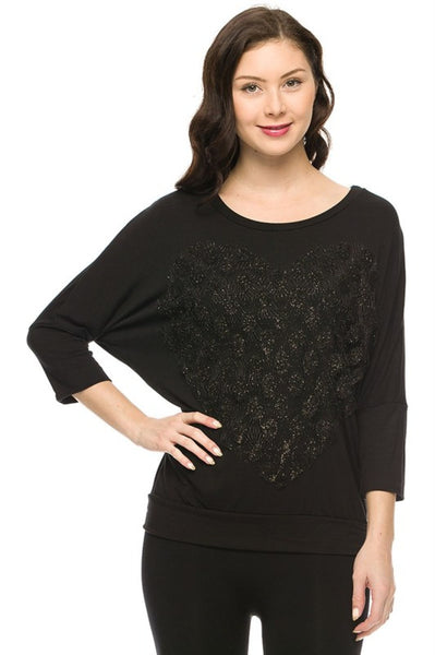 3/4 Dolman Sleeve Lace Heart Top - BodiLove | 30% Off First Order  - 1