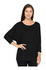 3/4 Sleeve Knit Top W/ Lace Trim - BodiLove | 30% Off First Order - 1 | Black2