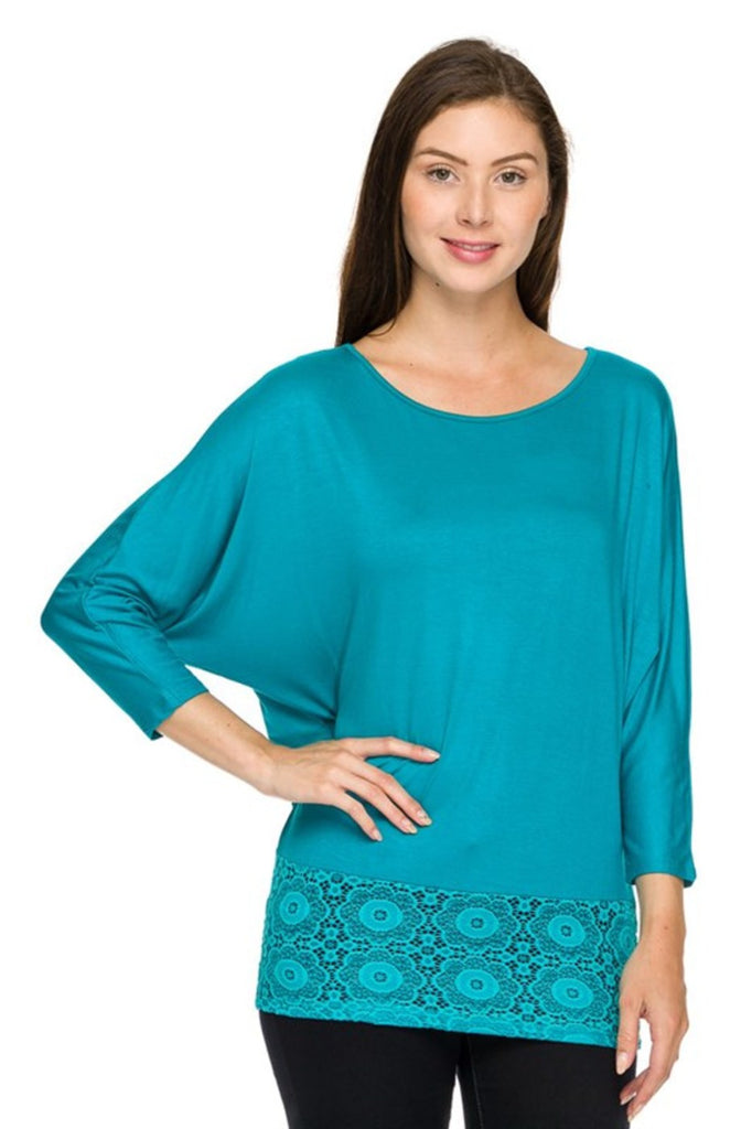 3/4 Sleeve Knit Top W/ Lace Trim - BodiLove | 30% Off First Order - 5 | Jade