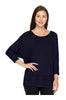 3/4 Sleeve Knit Top W/ Lace Trim - BodiLove | 30% Off First Order - 8 | Navy1