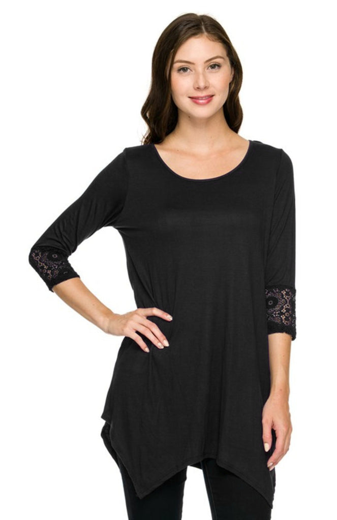 3/4 Sleeve Hi-Low Tunic Top W/ Lace Trim - BodiLove | 30% Off First Order  - 1