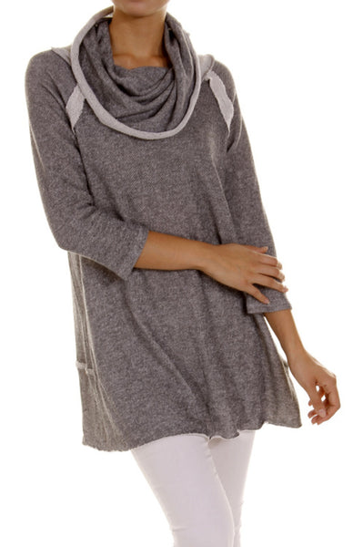 3/4 Sleeve Cowl Neck Tunic Top - BodiLove | 30% Off First Order - 1