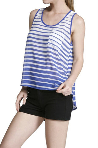 Sleeveless Striped Hi-Low Tank