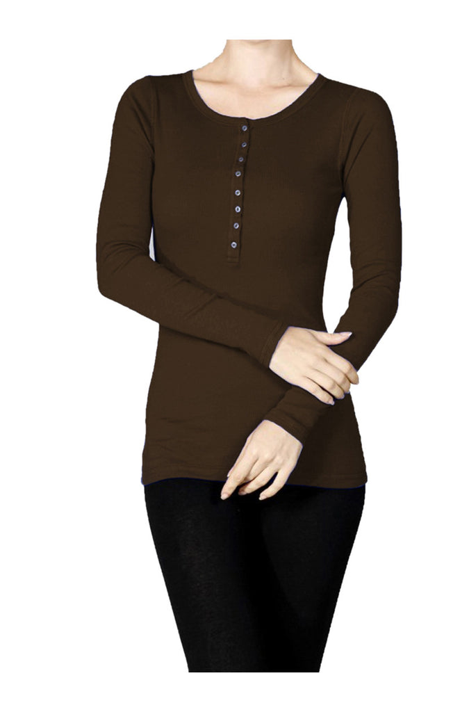 Long Sleeve Henley Top - BodiLove | 30% Off First Order  - 1