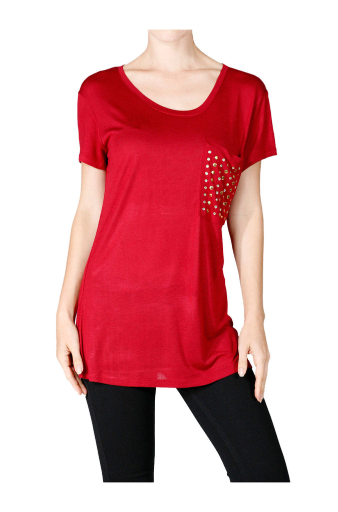 Short Sleeve Studded Pocket Boyfriend Tee - BodiLove | 30% Off First Order  - 12