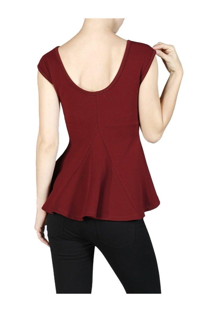Sleeveless Paneled Hi Low Peplum Top - BodiLove | 30% Off First Order  - 5