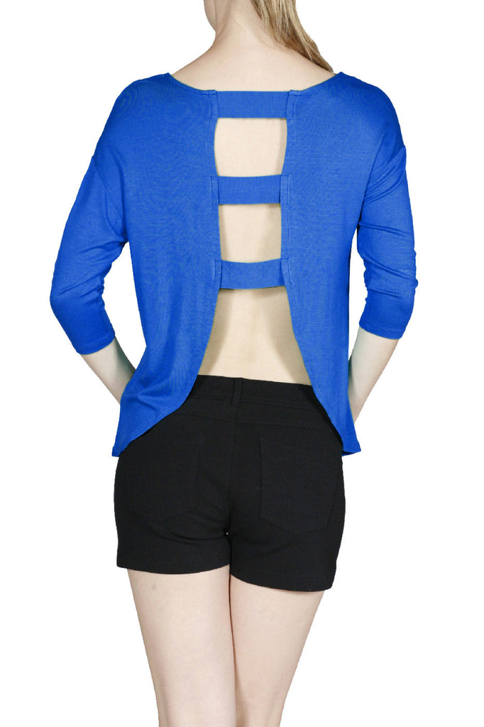3/4 Sleeve Jersey Knit Top W/ Open Back - BodiLove | 30% Off First Order  - 21