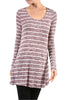Striped Long Sleeve Knit Tunic Top - BodiLove | 30% Off First Order - 3