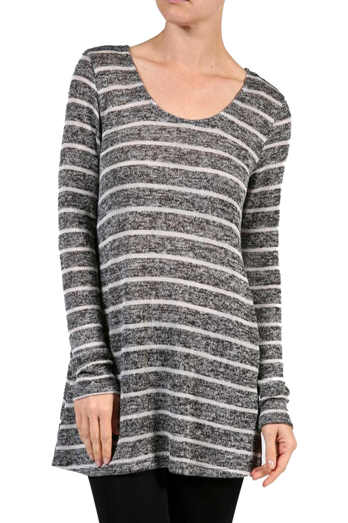 Striped Long Sleeve Knit Tunic Top - BodiLove | 30% Off First Order - 1