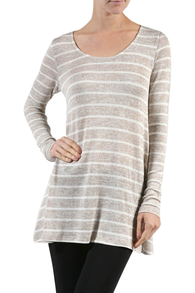 Striped Long Sleeve Knit Tunic Top - BodiLove | 30% Off First Order - 6
