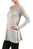 Striped Long Sleeve Knit Tunic Top - BodiLove | 30% Off First Order - 8