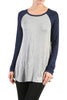 Long Sleeve Colorblocked Baseball Tunic Tee - BodiLove | 30% Off First Order - 8 | Navy & Gray
