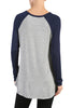 Long Sleeve Colorblocked Baseball Tunic Tee - BodiLove | 30% Off First Order - 9 | Navy & Gray