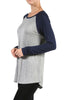 Long Sleeve Colorblocked Baseball Tunic Tee - BodiLove | 30% Off First Order - 10 | Navy & Gray