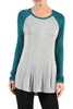 Long Sleeve Colorblocked Baseball Tunic Tee - BodiLove | 30% Off First Order | Teal & Gray