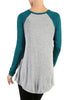 Long Sleeve Colorblocked Baseball Tunic Tee - BodiLove | 30% Off First Order - 2 | Teal & Gray
